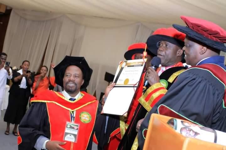Bishop David Livingstone Kiganda receives an Hononary Doctorate in Theology