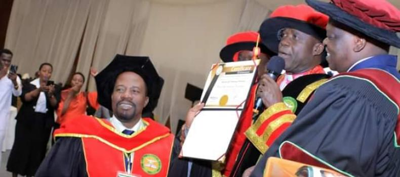 Bishop David Livingstone Kiganda receives an Hononary Doctorate in Theology